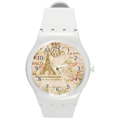 Floral Eiffel Tower Vintage French Paris Art Plastic Sport Watch (medium) by chicelegantboutique
