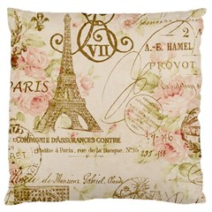 Floral Eiffel Tower Vintage French Paris Art Large Cushion Case (two Sided)  by chicelegantboutique