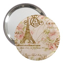 Floral Eiffel Tower Vintage French Paris Art 3  Handbag Mirror by chicelegantboutique