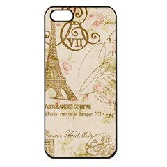 Floral Eiffel Tower Vintage French Paris Art Apple Iphone 5 Seamless Case (black) by chicelegantboutique