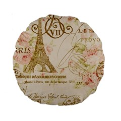 Floral Eiffel Tower Vintage French Paris Art 15  Premium Round Cushion  by chicelegantboutique