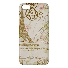 Floral Eiffel Tower Vintage French Paris Art Iphone 5 Premium Hardshell Case by chicelegantboutique