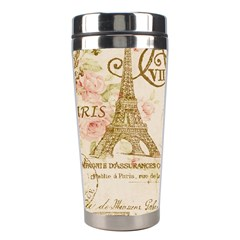 Floral Eiffel Tower Vintage French Paris Art Stainless Steel Travel Tumbler by chicelegantboutique