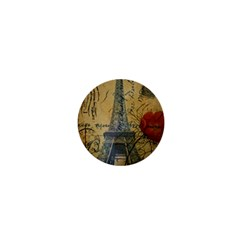 Vintage Stamps Postage Poppy Flower Floral Eiffel Tower Vintage Paris 1  Mini Button Magnet by chicelegantboutique