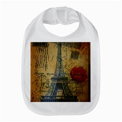 Vintage Stamps Postage Poppy Flower Floral Eiffel Tower Vintage Paris Bib by chicelegantboutique