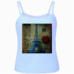 Vintage Stamps Postage Poppy Flower Floral Eiffel Tower Vintage Paris Baby Blue Spaghetti Tank by chicelegantboutique