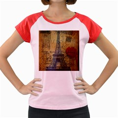 Vintage Stamps Postage Poppy Flower Floral Eiffel Tower Vintage Paris Women s Cap Sleeve T Shirt (colored) by chicelegantboutique