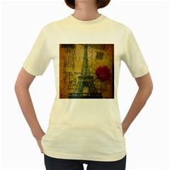 Vintage Stamps Postage Poppy Flower Floral Eiffel Tower Vintage Paris  Womens  T Shirt (yellow) by chicelegantboutique