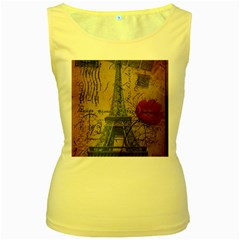 Vintage Stamps Postage Poppy Flower Floral Eiffel Tower Vintage Paris Womens  Tank Top (yellow) by chicelegantboutique