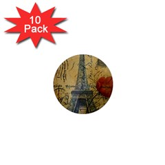 Vintage Stamps Postage Poppy Flower Floral Eiffel Tower Vintage Paris 1  Mini Button Magnet (10 Pack) by chicelegantboutique