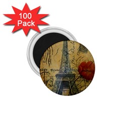 Vintage Stamps Postage Poppy Flower Floral Eiffel Tower Vintage Paris 1 75  Button Magnet (100 Pack) by chicelegantboutique