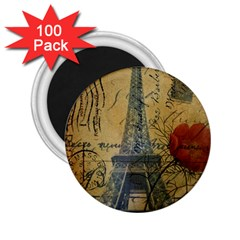Vintage Stamps Postage Poppy Flower Floral Eiffel Tower Vintage Paris 2 25  Button Magnet (100 Pack) by chicelegantboutique