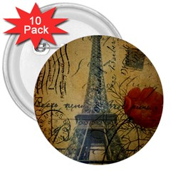 Vintage Stamps Postage Poppy Flower Floral Eiffel Tower Vintage Paris 3  Button (10 Pack) by chicelegantboutique