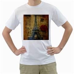 Vintage Stamps Postage Poppy Flower Floral Eiffel Tower Vintage Paris Mens  T Shirt (white) by chicelegantboutique