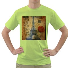 Vintage Stamps Postage Poppy Flower Floral Eiffel Tower Vintage Paris Mens  T Shirt (green) by chicelegantboutique