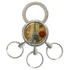 Vintage Stamps Postage Poppy Flower Floral Eiffel Tower Vintage Paris 3 Ring Key Chain by chicelegantboutique