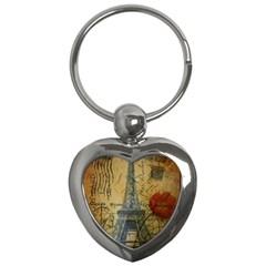 Vintage Stamps Postage Poppy Flower Floral Eiffel Tower Vintage Paris Key Chain (heart) by chicelegantboutique