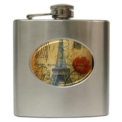 Vintage Stamps Postage Poppy Flower Floral Eiffel Tower Vintage Paris Hip Flask by chicelegantboutique