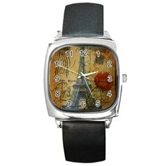 Vintage Stamps Postage Poppy Flower Floral Eiffel Tower Vintage Paris Square Leather Watch by chicelegantboutique