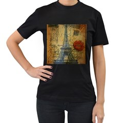 Vintage Stamps Postage Poppy Flower Floral Eiffel Tower Vintage Paris Womens' Two Sided T Shirt (black) by chicelegantboutique