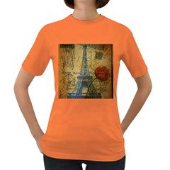 Vintage Stamps Postage Poppy Flower Floral Eiffel Tower Vintage Paris Womens' T Shirt (colored) by chicelegantboutique