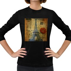 Vintage Stamps Postage Poppy Flower Floral Eiffel Tower Vintage Paris Womens' Long Sleeve T Shirt (dark Colored) by chicelegantboutique