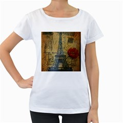 Vintage Stamps Postage Poppy Flower Floral Eiffel Tower Vintage Paris Womens' Maternity T Shirt (white) by chicelegantboutique