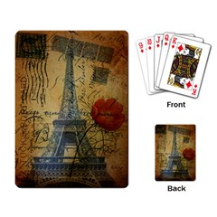 Vintage Stamps Postage Poppy Flower Floral Eiffel Tower Vintage Paris Playing Cards Single Design by chicelegantboutique