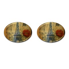 Vintage Stamps Postage Poppy Flower Floral Eiffel Tower Vintage Paris Cufflinks (oval) by chicelegantboutique