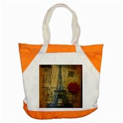Vintage Stamps Postage Poppy Flower Floral Eiffel Tower Vintage Paris Accent Tote Bag by chicelegantboutique