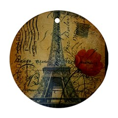 Vintage Stamps Postage Poppy Flower Floral Eiffel Tower Vintage Paris Round Ornament (two Sides) by chicelegantboutique