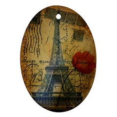 Vintage Stamps Postage Poppy Flower Floral Eiffel Tower Vintage Paris Oval Ornament (two Sides)