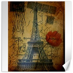 Vintage Stamps Postage Poppy Flower Floral Eiffel Tower Vintage Paris Canvas 20  X 20  (unframed) by chicelegantboutique