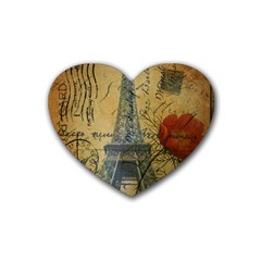 Vintage Stamps Postage Poppy Flower Floral Eiffel Tower Vintage Paris Drink Coasters 4 Pack (heart)  by chicelegantboutique