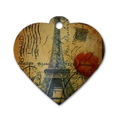 Vintage Stamps Postage Poppy Flower Floral Eiffel Tower Vintage Paris Dog Tag Heart (one Sided)  by chicelegantboutique