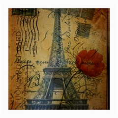 Vintage Stamps Postage Poppy Flower Floral Eiffel Tower Vintage Paris Glasses Cloth (Medium, Two Sided) by chicelegantboutique