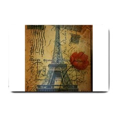 Vintage Stamps Postage Poppy Flower Floral Eiffel Tower Vintage Paris Small Door Mat by chicelegantboutique