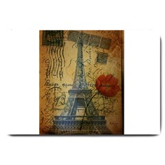 Vintage Stamps Postage Poppy Flower Floral Eiffel Tower Vintage Paris Large Door Mat by chicelegantboutique