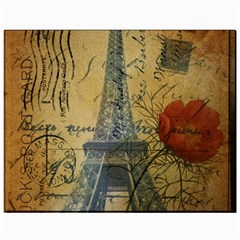 Vintage Stamps Postage Poppy Flower Floral Eiffel Tower Vintage Paris Canvas 11  X 14  (unframed) by chicelegantboutique
