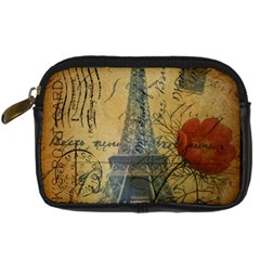 Vintage Stamps Postage Poppy Flower Floral Eiffel Tower Vintage Paris Digital Camera Leather Case by chicelegantboutique