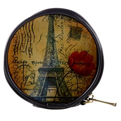 Vintage Stamps Postage Poppy Flower Floral Eiffel Tower Vintage Paris Mini Makeup Case