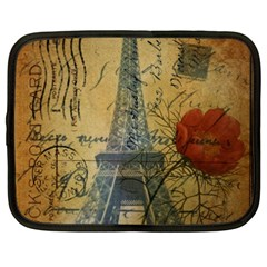 Vintage Stamps Postage Poppy Flower Floral Eiffel Tower Vintage Paris Netbook Case (xxl) by chicelegantboutique
