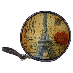 Vintage Stamps Postage Poppy Flower Floral Eiffel Tower Vintage Paris Cd Wallet by chicelegantboutique