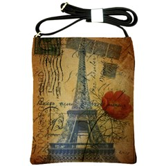 Vintage Stamps Postage Poppy Flower Floral Eiffel Tower Vintage Paris Shoulder Sling Bag by chicelegantboutique