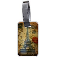 Vintage Stamps Postage Poppy Flower Floral Eiffel Tower Vintage Paris Luggage Tag (one Side) by chicelegantboutique