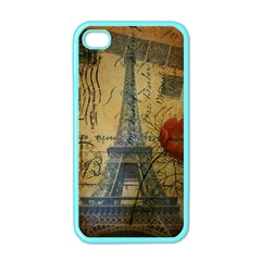 Vintage Stamps Postage Poppy Flower Floral Eiffel Tower Vintage Paris Apple Iphone 4 Case (color) by chicelegantboutique