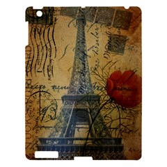Vintage Stamps Postage Poppy Flower Floral Eiffel Tower Vintage Paris Apple Ipad 3/4 Hardshell Case by chicelegantboutique
