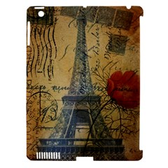 Vintage Stamps Postage Poppy Flower Floral Eiffel Tower Vintage Paris Apple Ipad 3/4 Hardshell Case (compatible With Smart Cover) by chicelegantboutique