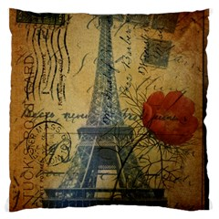 Vintage Stamps Postage Poppy Flower Floral Eiffel Tower Vintage Paris Large Cushion Case (two Sided)  by chicelegantboutique