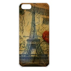 Vintage Stamps Postage Poppy Flower Floral Eiffel Tower Vintage Paris Apple Iphone 5 Seamless Case (white) by chicelegantboutique